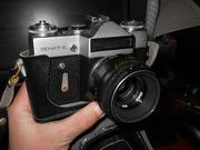 Зеркальный фотоаппарат Зенит с объективом гелиос 44-2