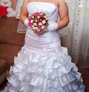 Свадебное платье + шубка,  перчатки,  кольца (двойка)