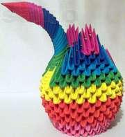 Радужный и белый лебеди оригами