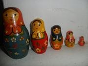 Матрёшка сувенирная времён СССР ручной росписи, деревянная 5 в 1.